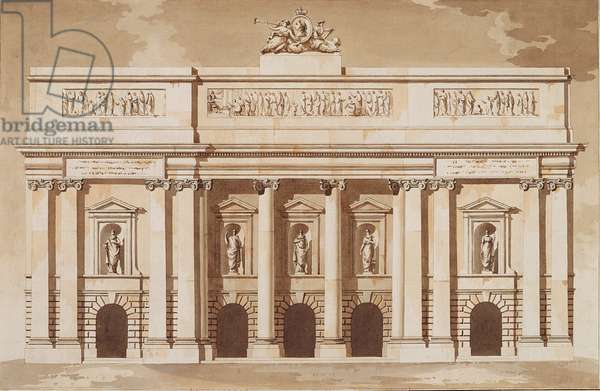 Elevation for the West Front of Parliament House, Dublin, c.1787 (pen and brush with brown ink and w/c on laid paper)