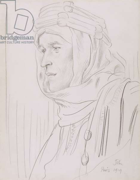 Portrait of Colonel T. E. Lawrence (Lawrence of Arabia) 1919 (pencil on paper)
