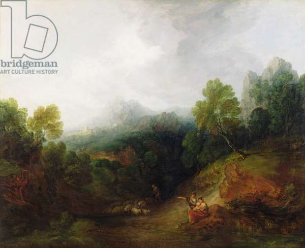 A Mountain Valley with Rustic Figures, c.1773-7 (oil on canvas)