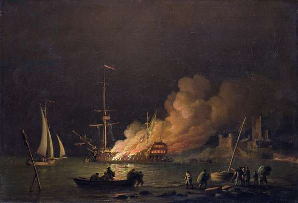 Ship on Fire at Night, c.1756 (oil on canvas)
