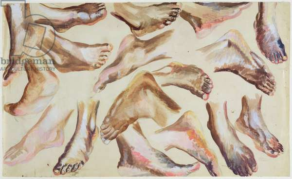Study of feet (bodycolour over graphite on paper)