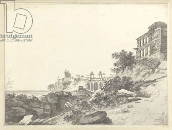 A View of the Ruins of the Palace and Mosque at Fatepur Sikri, c.1783 (wash and graphite on paper)
