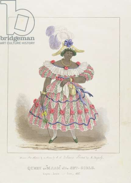 Queen or 'Maam' of the Set-Girls, plate 1 from 'Sketches of Character... ', 1838 (colour litho)