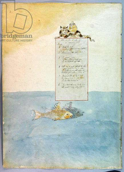 'Ode on the Death of a Favourite Cat', design 8 for 'The Poems of Thomas Gray', 1797-98 (w/c with pen & black ink) (see 285539 for recto)