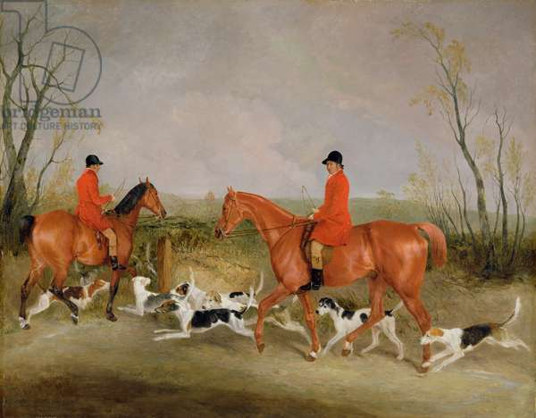 George Mountford, Huntsman to the Quorn, and W. Derry, Whipper-In, at John O'Gaunt's Gorse, nr Melton Mowbray, 1836 (oil on canvas)