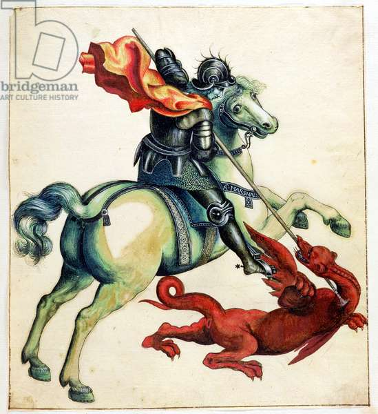 St. George and the Dragon, from 'Anecdotes of Painting in England' written by Horace Walpole (1717-97) published in 1765 (pen and ink and watercolour over graphite on paper