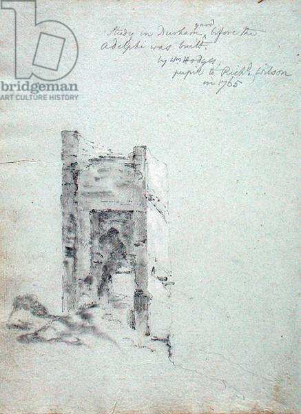 Study in Durham yard before the Adelphi was built, from 'An Italian Sketchbook' belonging to Richard Wilson (1714-82) (chalk on paper)