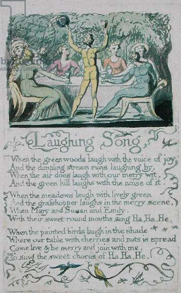 'Laughing Song,' plate 13 from 'Songs of Innocence,' 1789 (hand-coloured relief etching with watercolour)