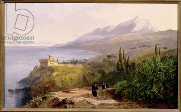 Mount Athos and the Monastery of Stavroniketes, 1857 (oil on canvas)