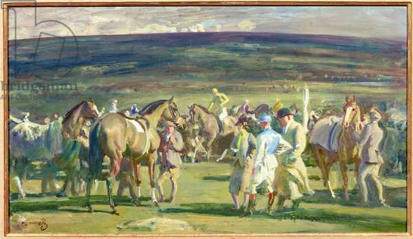 The Cheltenham March Meeting (oil on panel)