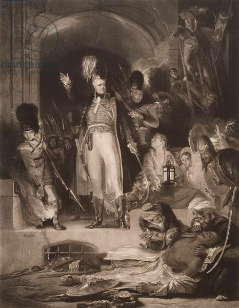 Sir David Baird discovering the body of Tipu Sultan, 1843 (mezzotint)
