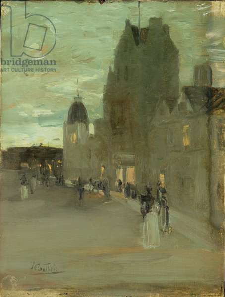 Street in Oban, Night (oil on canvas)