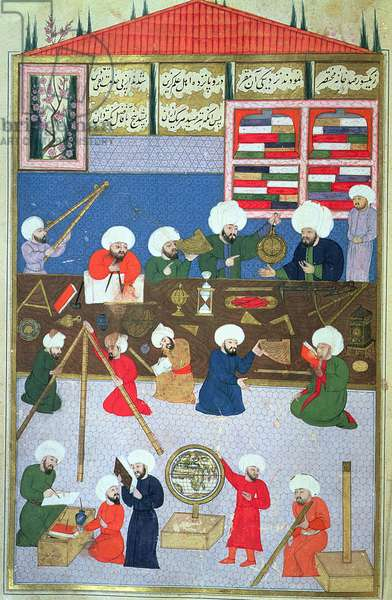 FY 1404 Takyuddin and other astronomers at the Galata observatory founded in 1557 by Sultan Suleyman, from the Sehinsahname of Murad III, c.1581 (vellum)