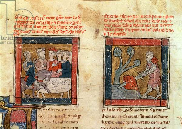 184 Fr.110 f.405 Galahad comes to Arthur and Galahad draws the sword from the floating stone in the river at Camelot, c.1250-80 (vellum) (see also 150479)