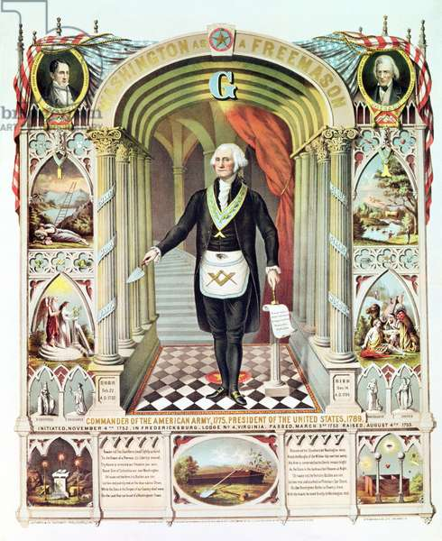 George Washington as a Freemason (litho)