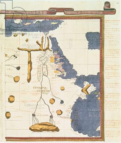 Map showing Egypt to Ethiopia, from the Ptolemy manuscript, c.1470, illustration from 'Memoires de la Societe Royale de Geographie d'Egypte'' (litho)