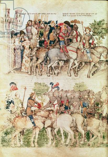 Ms Fr 343 fol.8v Arthur and his knights setting out on the quest for the Holy Grail, from the Queste del Saint Graal, c.1380-85 (vellum)
