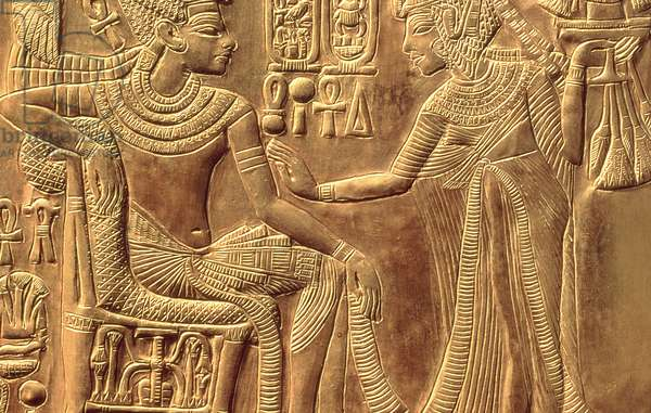Detail from the Golden Shrine of Tutankhamun (c.1370-52 BC) depicting the Queen anointing him with scented unguent, New Kingdom (wood overlaid with gesso covered with sheet gold) (detail of 148191)