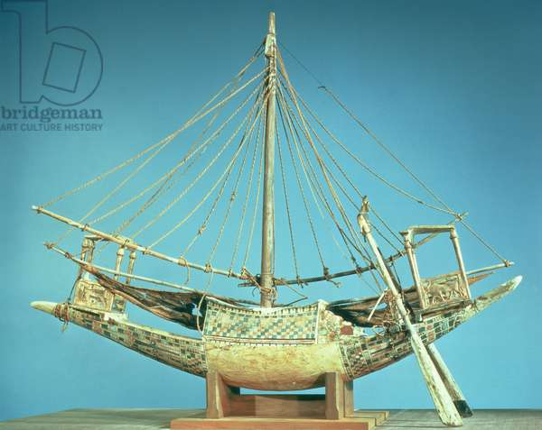 Model of one of the pharaoh's boats, from the tomb of Tutankhamun (c.1370-52 BC) New Kingdom (wood)