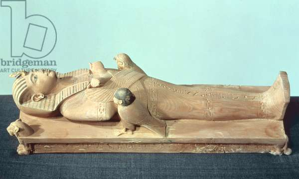 Image of the king on his funerary bed, from the tomb of Tutankhamun (c.1370-52 BC) New Kingdom (wood)