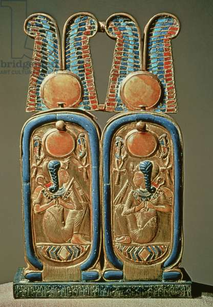 Unguent box in the form of a double royal cartouche, from the tomb of Tutankhamun (c.1370-52 BC) New Kingdom (gold plated wood inlaid with glass paste)