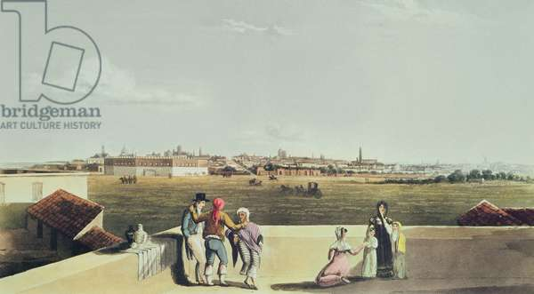 General View of Buenos Aires from the Plaza del Toros, from 'Picturesque Illustrations of Buenos Aires and Montevideo', 1820 (coloured engraving)