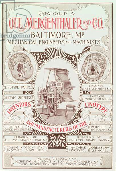 Poster advertising 'OTT Mergenthaler & Co., Inventors and Manufacturers of the Linotype' (litho)
