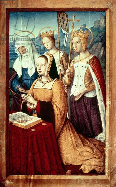 Ms lat 9474 f.3v Anne of Brittany with St. Anne, St. Ursula and St. Helen, miniature from the Grandes Heures of Anne of Brittany, c.1503-8 (vellum)