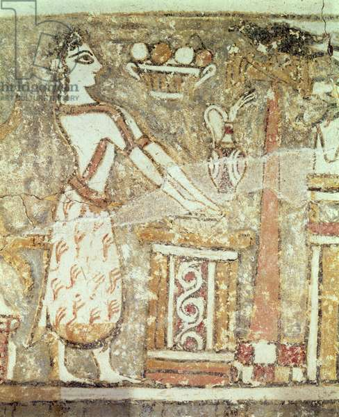 Priestess at an altar, detail from a sarcophagus from a tomb at Ayia Triada, Crete, Late Minoan Period, c.1390 BC (painted plaster on limestone)