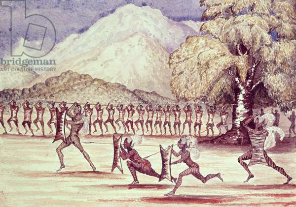 War Dance, illustration from 'The Albert N'yanza Great Basin of the Nile' by Sir Samuel Baker, 1866 (w/c on paper)