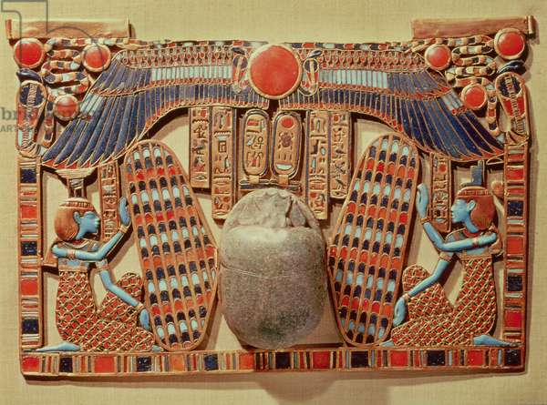 Pectoral decorated with the winged scarab protected by Isis and Nephthys, from the tomb of Tutankhamun (c.1370-52 BC) New Kingdom (gold cloisonne and glass paste)