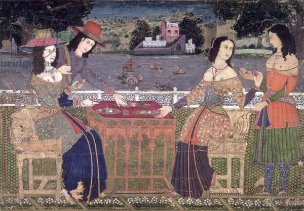 Europeans Refreshing themselves on a Balcony, Mughal, possibly Deccan (opaque w/c on paper)