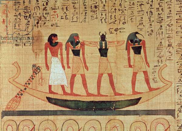 Papyrus depicting a man being transported on a barque to the afterlife by Thoth, Khepri and another god, Mythological papyrus of Imenemsaouf, Third Intermediate Period, c.1000 BC (painted papyrus) (detail)