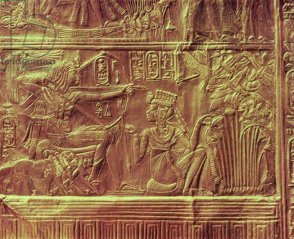 Detail from the Golden shrine, Tutankhamun's Treasure (wood overlaid with a layer of gesso and covered with sheet gold)