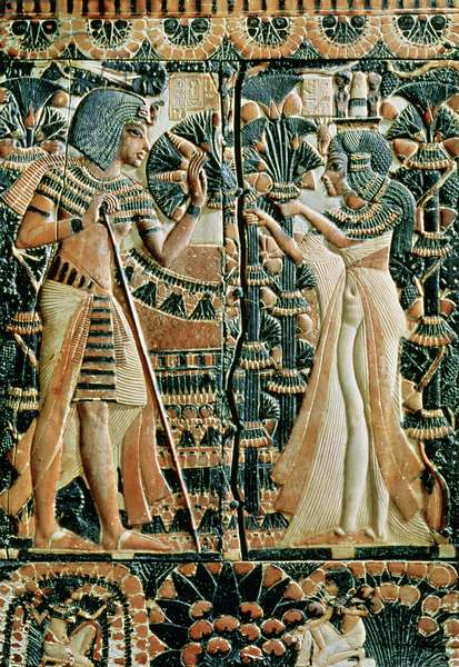 Plaque from the lid of a coffer showing Tutankhamun (c.1370-52 BC) and his wife Ankhesenamun in a garden, New Kingdom (painted ivory)