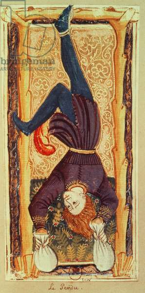 The Hanged Man, tarot card from the 'Charles VI' or 'Gringonneur' deck (painted card)