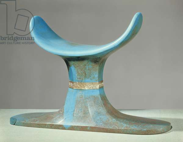 Headrest, from the tomb of Tutankhamun (c.1370-52 BC) New Kingdom (blue glass paste)