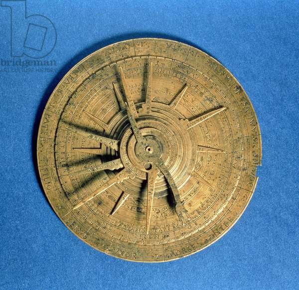 Astrolabe for calculating horoscopes, European (brass)