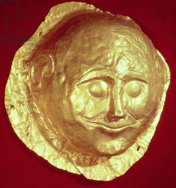 Death mask from Grave IV of Grave Circle A, Mycenae, c.1580-1550 BC (gold)