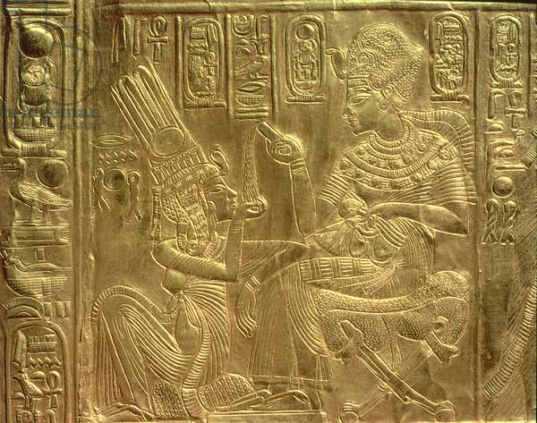 Detail from the Golden Shrine, Tutankhamun's Treasure (wood overlaid with a layer of gesso and coverd with sheet gold)