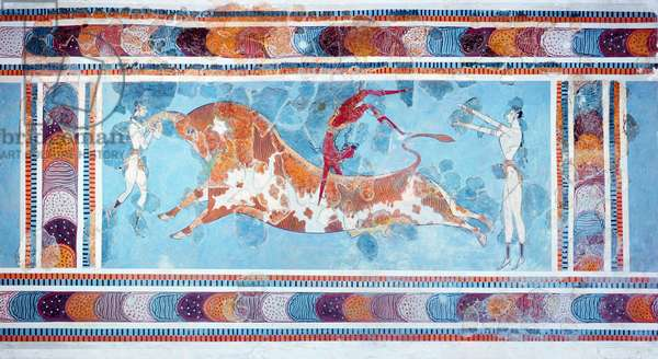 The Toreador Fresco, Knossos Palace, Crete, c.1500 BC (fresco)