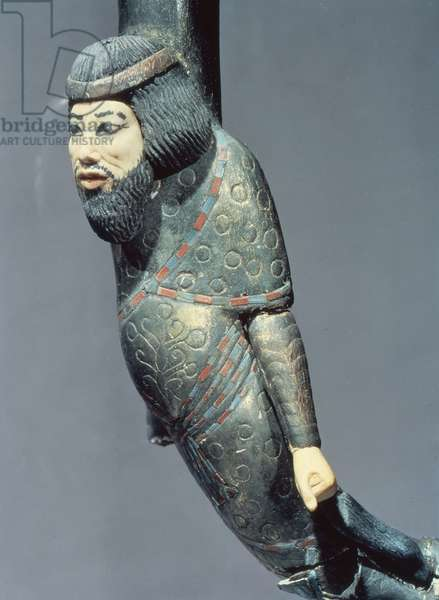 Figure of a Syrian from the end of a ceremonial cane, from the tomb of Tutankhamun (c.1370-52 BC) New Kingdom (wood & ivory) (see also 149407)