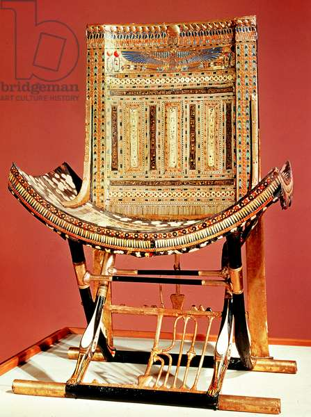 The pharaoh's ecclesiastical throne, from the tomb of Tutankhamun (c.1370-52 BC) New Kingdom (inlaid wood) (see also 59232)