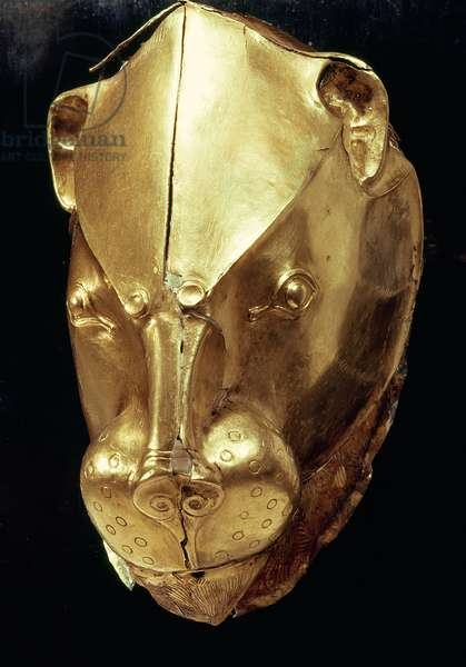 Lion's head rhyton, from Grave IV, Grave Circle A, Mycenae (gold) (see also 179999)