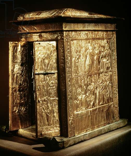 The Golden Shrine of Tutankhamun (c.1370-52 BC) New Kingdom (wood overlaid with gesso covered with sheet gold)