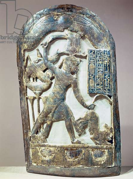 Votive shield depicting the king slaying a lion, from the tomb of Tutankhamun (c.1370-52 BC) New Kingdom (incised & gilded wood)