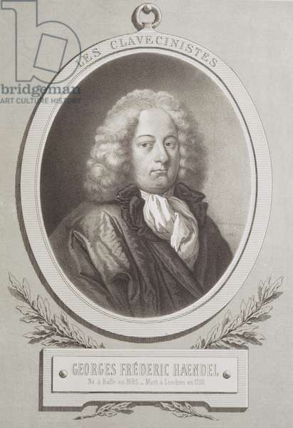 Portrait of George Frederick Handel (1685-1759) frontispiece of a music score