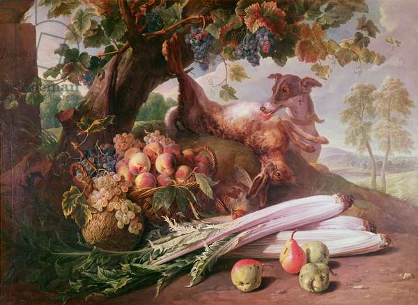 Still Life of Flowers, Game and Fruits (oil on canvas)