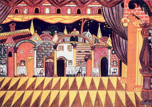 Set design for the house of the Old Buffoon, scene 2 from the ballet 'Le Chout' or 'The Buffoon' by Serge Prokofiev (1891-1953) (litho)