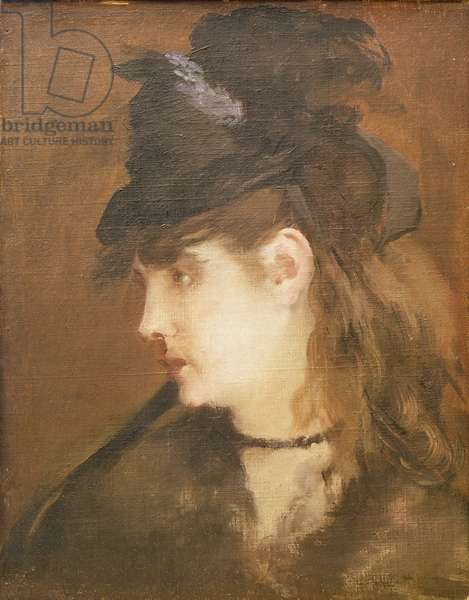 Berthe Morisot in a Black Hat (oil on canvas)